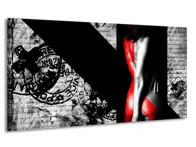 Canvas Schilderij Vrouw, Kunst | Rood, Zwart, Grijs | 170x90cm 1Luik