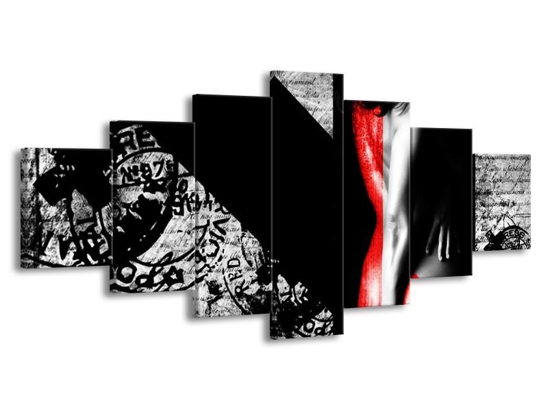 Canvas Schilderij Vrouw, Kunst | Rood, Zwart, Grijs | 210x100cm 7Luik