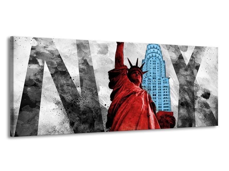 Glasschilderij New York, Vrijheidsbeeld | Rood, Grijs, Blauw | 145x58cm 1Luik