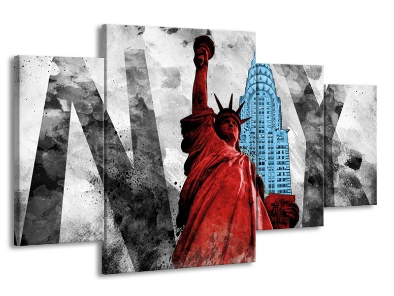 Canvas Schilderij New York, Vrijheidsbeeld | Rood, Grijs, Blauw | 160x90cm 4Luik