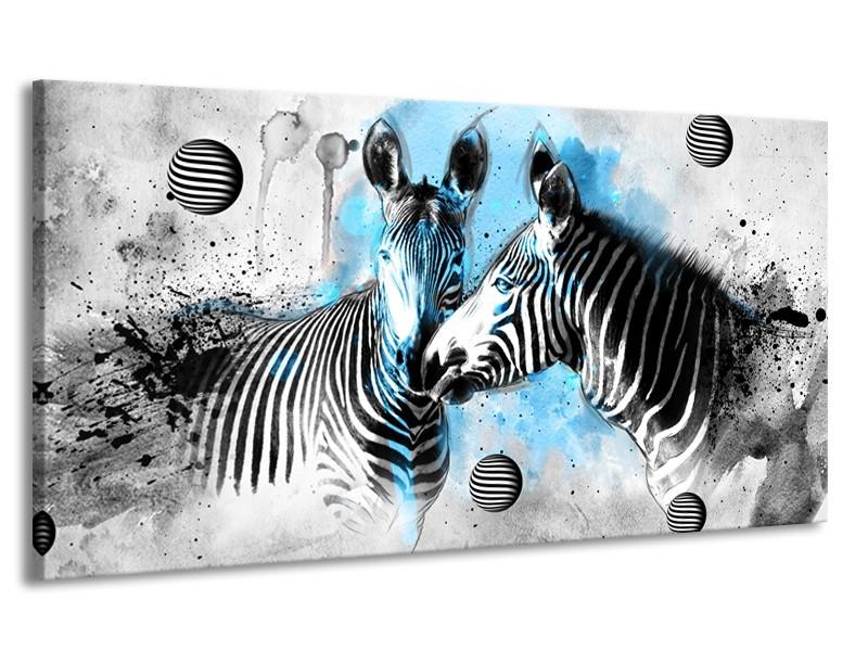 Canvas Schilderij Zebra, Dieren | Blauw, Zwart, Wit | 170x90cm 1Luik