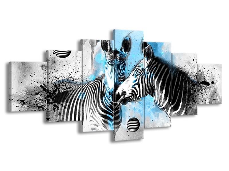 Glasschilderij Zebra, Dieren | Blauw, Zwart, Wit | 210x100cm 7Luik