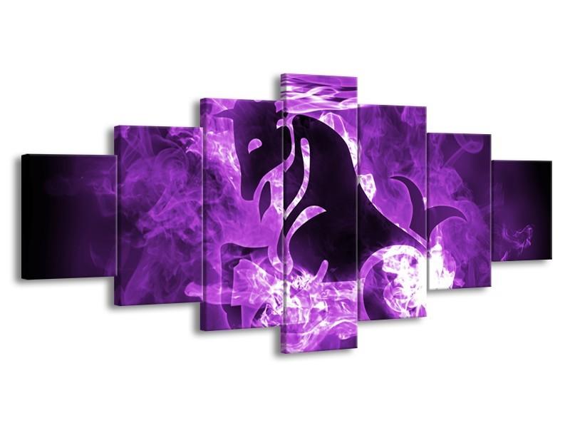 Glasschilderij Paard, Abstract | Paars, Zwart, Wit | 210x100cm 7Luik