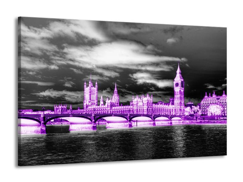 Canvas Schilderij Engeland, London | Paars, Zwart, Wit | 140x90cm 1Luik