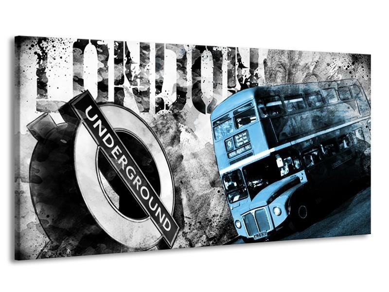 Canvas Schilderij Underground, Engeland | Zwart, Wit, Blauw | 170x90cm 1Luik