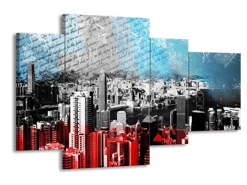 Glasschilderij Steden | Grijs, Rood, Blauw | 120x75cm 4Luik