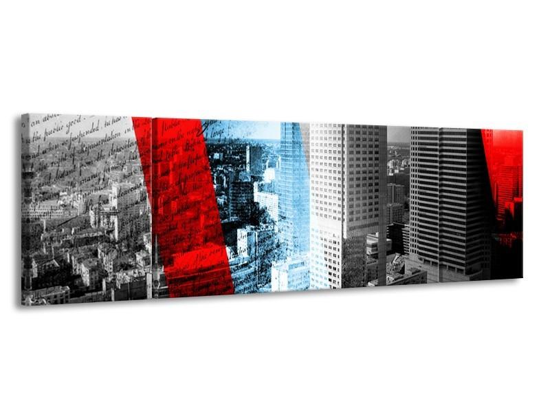 Canvas Schilderij Steden, Wolkenkrabber | Zwart, Blauw, Rood | 170x50cm 3Luik