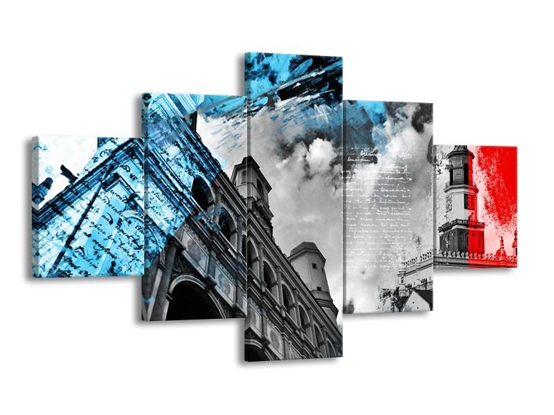 Canvas Schilderij Steden | Zwart, Blauw, Rood | 125x70cm 5Luik
