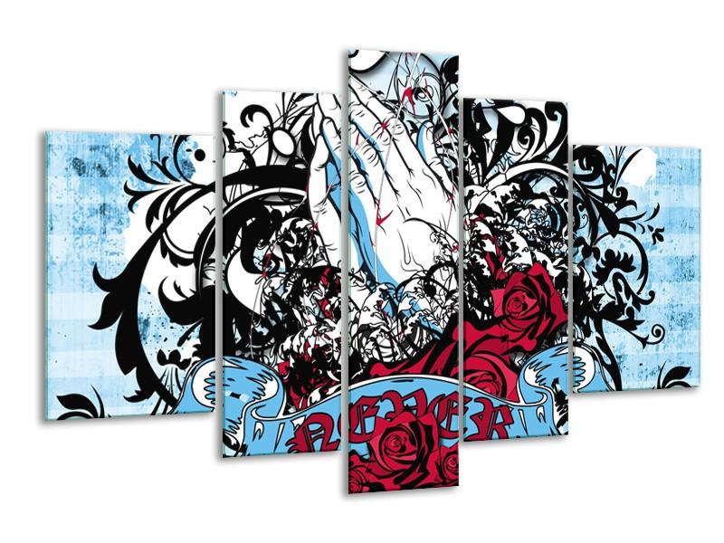 Canvas Schilderij Popart, Handen | Blauw, Rood, Zwart | 170x100cm 5Luik