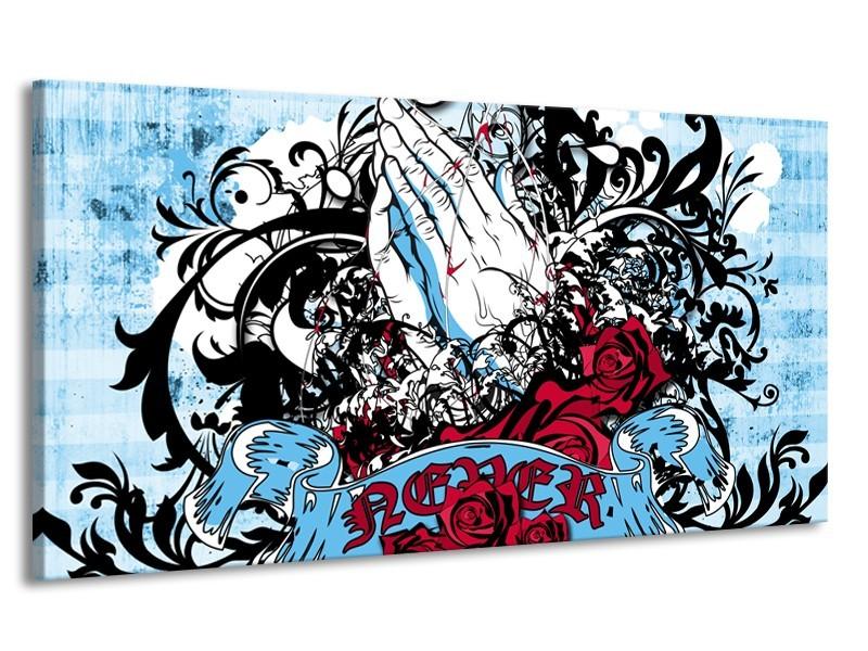 Canvas Schilderij Popart, Handen | Blauw, Rood, Zwart | 170x90cm 1Luik