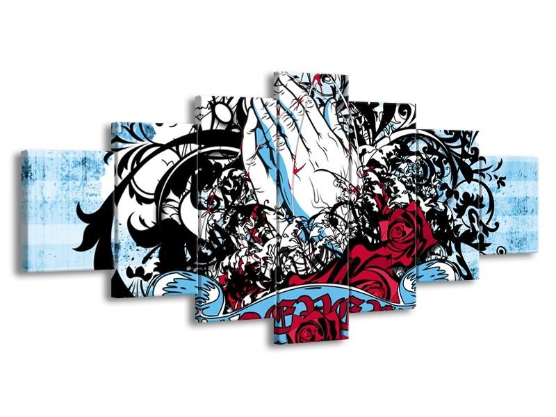 Canvas Schilderij Popart, Handen | Blauw, Rood, Zwart | 210x100cm 7Luik