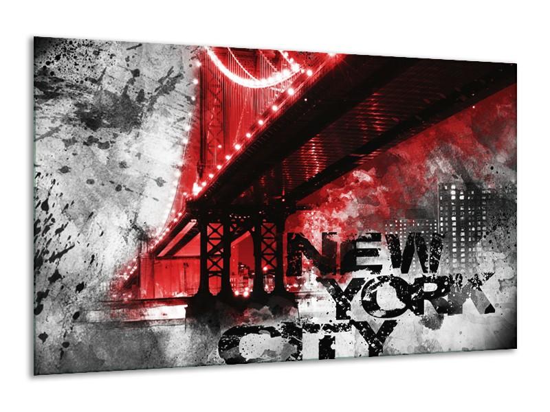Canvas Schilderij New York, Brug | Rood, Zwart, Wit | 120x70cm 1Luik
