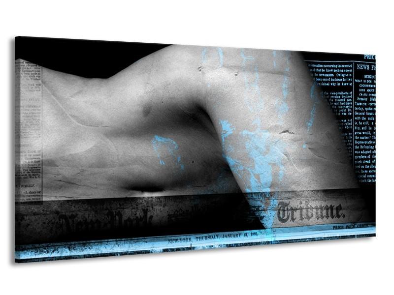 Canvas Schilderij Vrouw, Kunst | Blauw, Zwart, Grijs | 170x90cm 1Luik