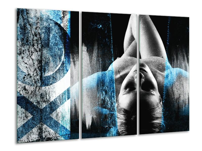 Canvas Schilderij Vrouw, Kunst | Zwart, Wit, Blauw | 120x80cm 3Luik