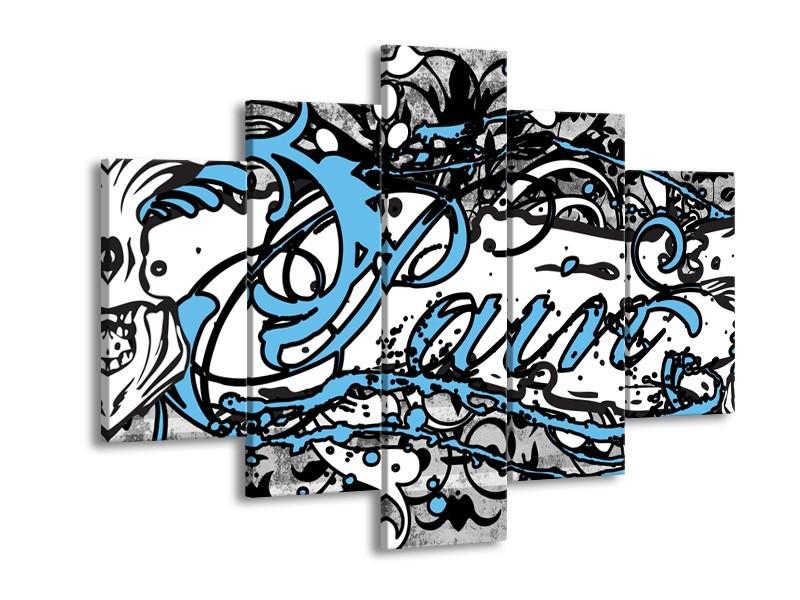 Glasschilderij Popart | Zwart, Wit, Blauw | 150x105cm 5Luik