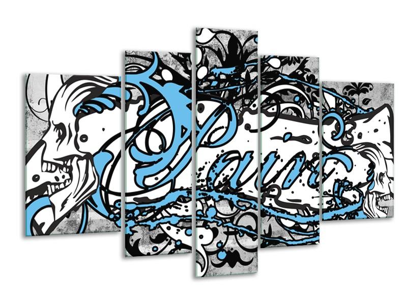 Canvas Schilderij Popart | Zwart, Wit, Blauw | 170x100cm 5Luik