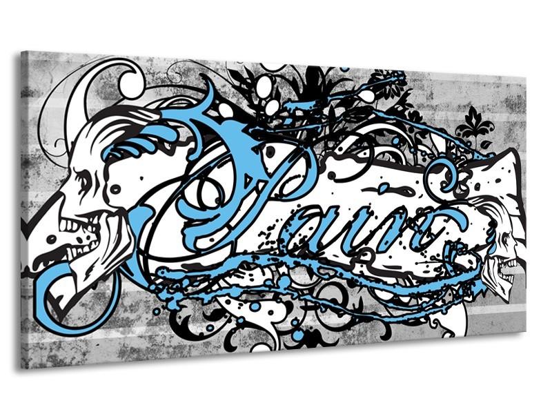 Canvas Schilderij Popart | Zwart, Wit, Blauw | 170x90cm 1Luik