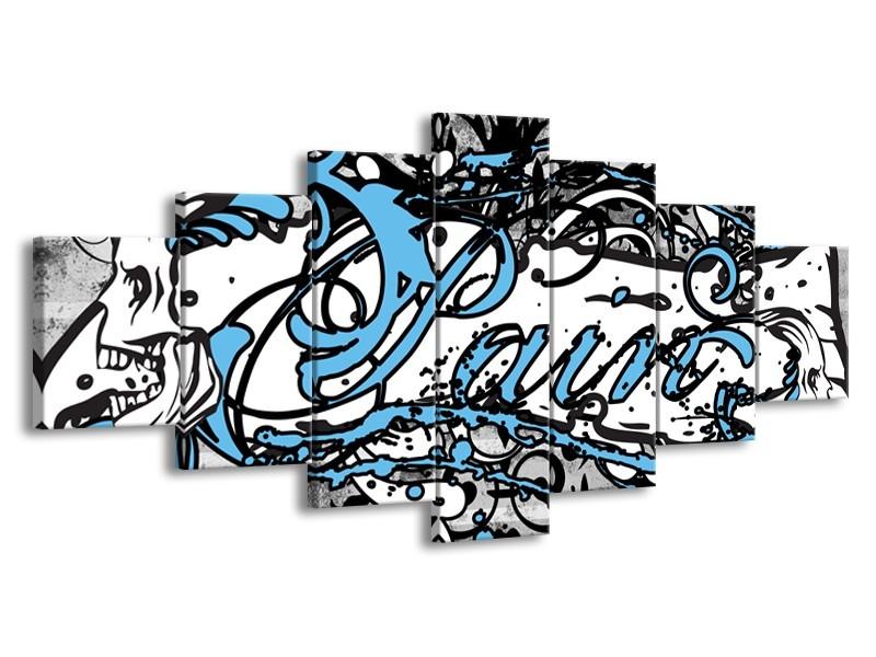 Canvas Schilderij Popart | Zwart, Wit, Blauw | 210x100cm 7Luik