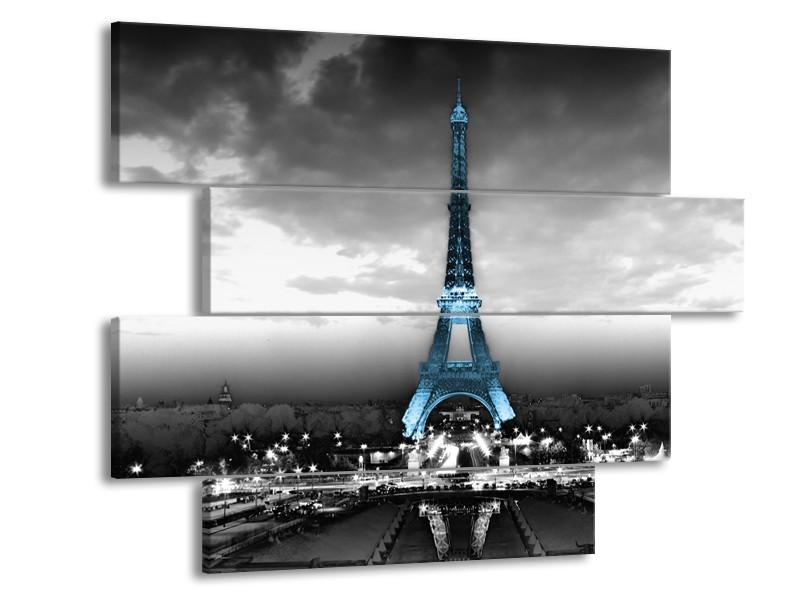 Canvas Schilderij Parijs, Eiffeltoren | Zwart, Wit, Blauw | 115x85cm 4Luik