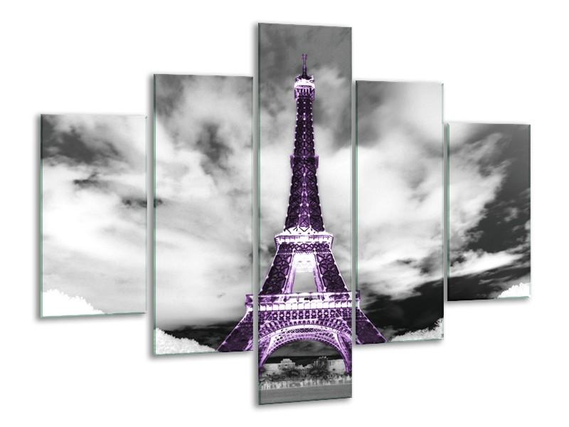 Canvas Schilderij Parijs, Eiffeltoren | Zwart, Wit, Paars | 100x70cm 5Luik