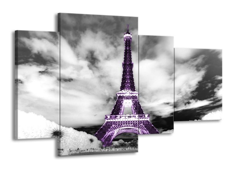 Canvas Schilderij Parijs, Eiffeltoren | Zwart, Wit, Paars | 120x75cm 4Luik