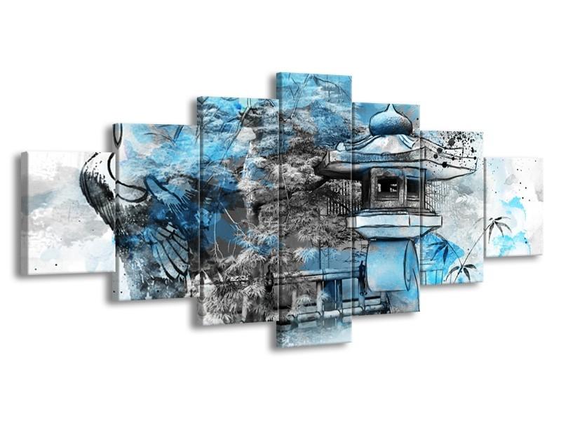 Canvas Schilderij Vogel, Chinese gebouw   Blauw, Zwart, Wit   210x100cm 7Luik
