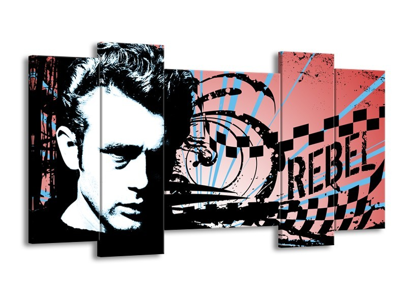 Canvas Schilderij Popart | Zwart, Wit, Blauw | 120x65cm 5Luik