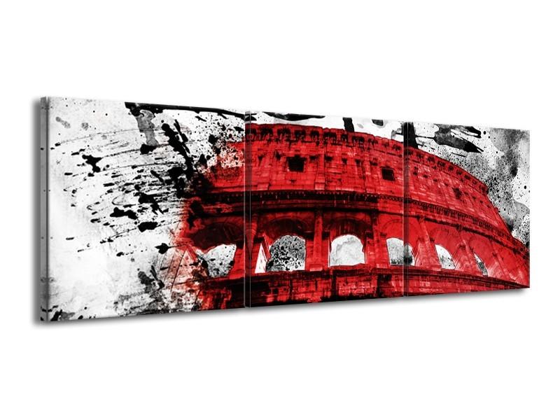Canvas Schilderij Italie, Rome | Rood, Zwart, Wit | 150x50cm 3Luik