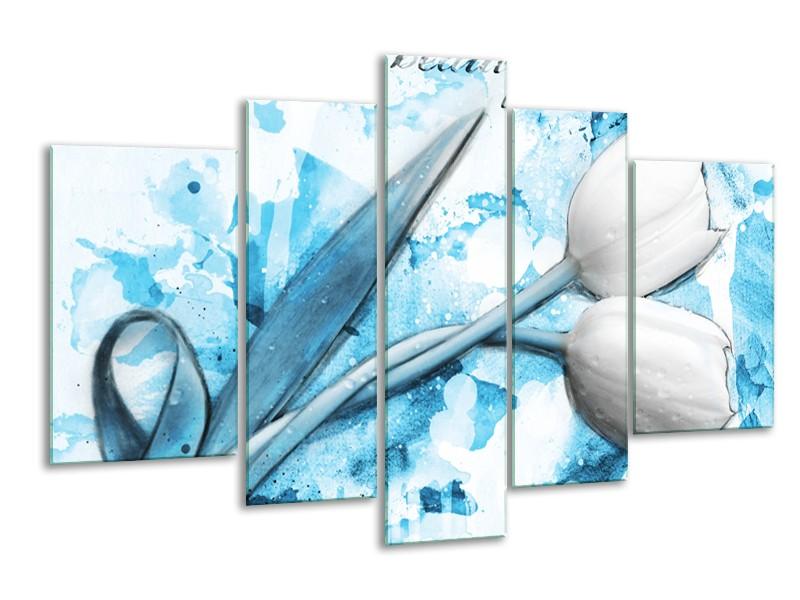 Glasschilderij Tulpen, Bloemen | Blauw, Wit | 170x100cm 5Luik