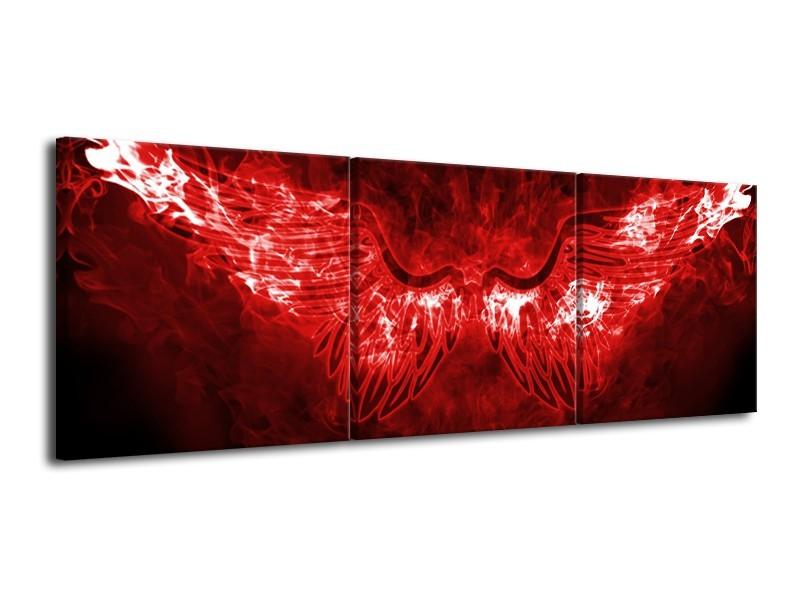 Glasschilderij Engel, Vuur   Rood, Wit,   120x40cm 3Luik
