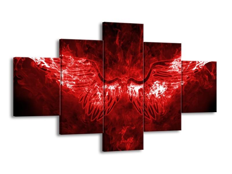 Canvas Schilderij Engel, Vuur   Rood, Wit   125x70cm 5Luik