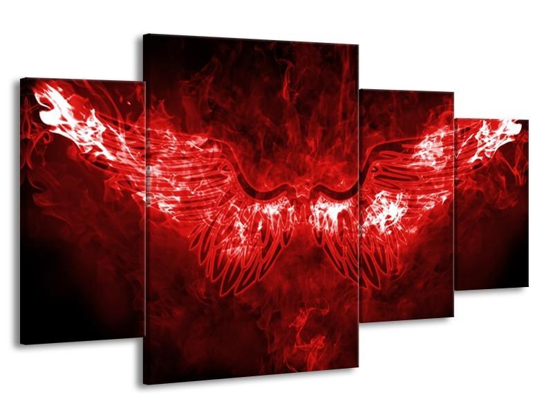 Glasschilderij Engel, Vuur   Rood, Wit,   160x90cm 4Luik