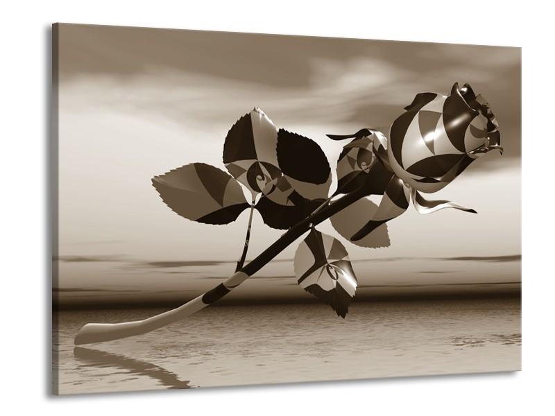 Glasschilderij Roos, Bloem   Sepia   100x70cm 1Luik