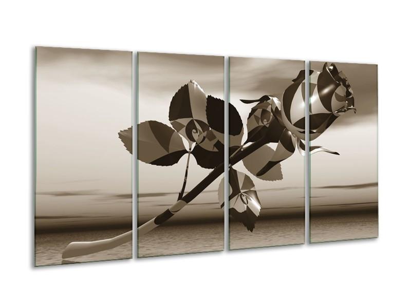 Canvas Schilderij Roos, Bloem   Sepia   160x80cm 4Luik
