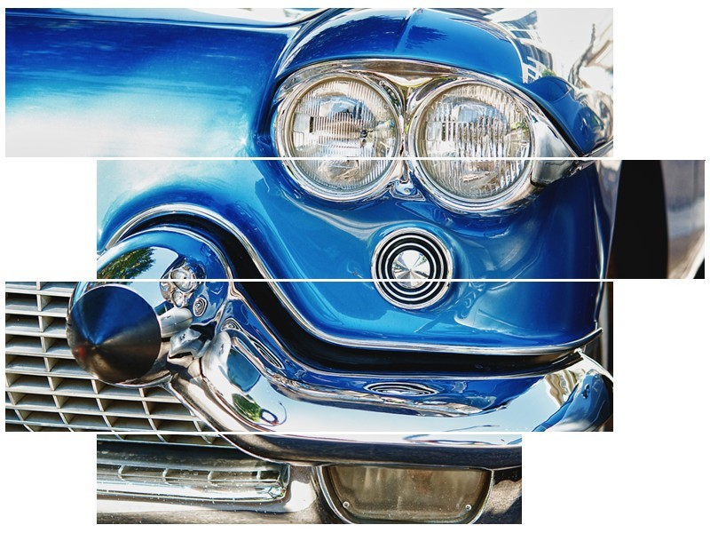 Canvas Schilderij Oldtimer, Auto | Blauw, Grijs, Zilver | 115x85cm 4Luik