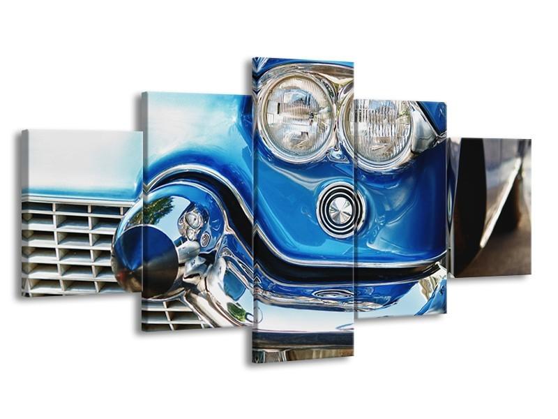 Canvas Schilderij Oldtimer, Auto | Blauw, Grijs, Zilver | 150x80cm 5Luik