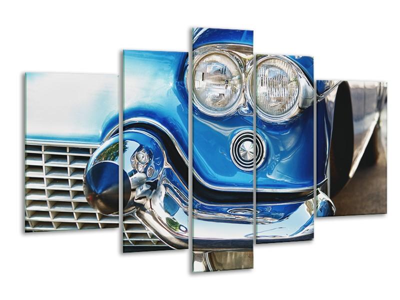 Glasschilderij Oldtimer, Auto | Blauw, Grijs, Zilver | 170x100cm 5Luik