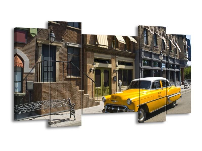 Glasschilderij Oldtimer, Auto | Geel, Grijs, Bruin | 120x65cm 5Luik
