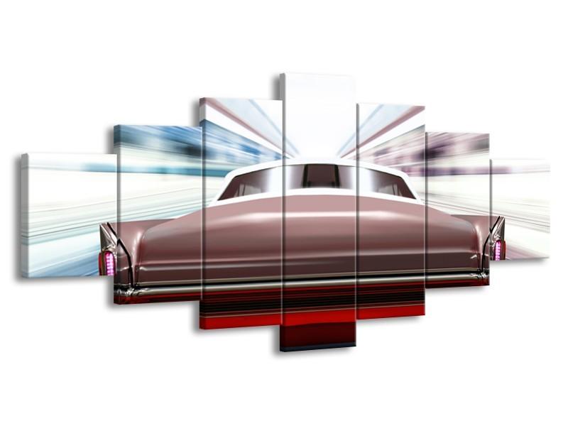 Canvas Schilderij Oldtimer, Auto | Rood, Bruin, Grijs | 210x100cm 7Luik