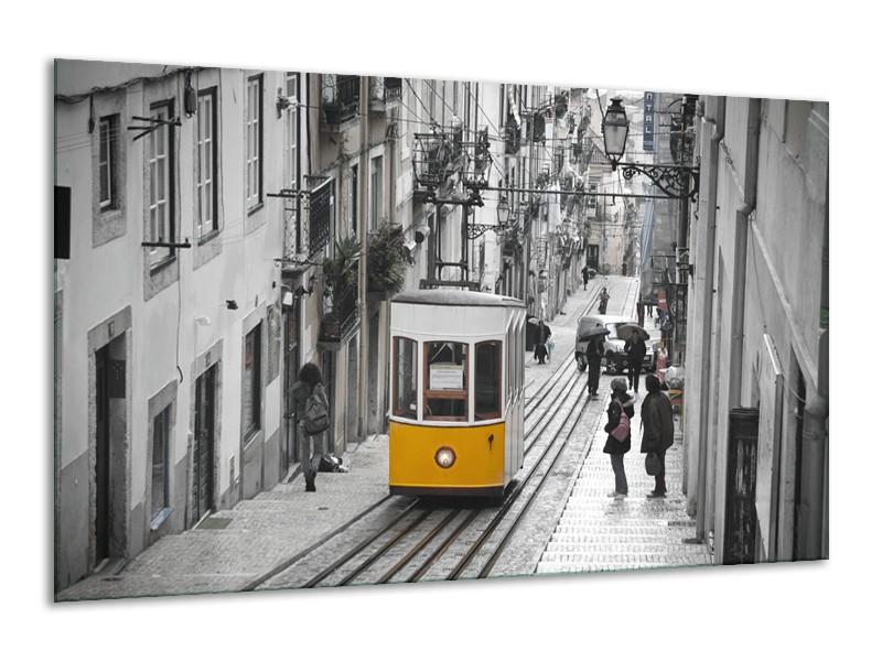 Glasschilderij Steden | Zwart, Wit, Geel | 120x70cm 1Luik