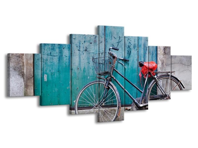 Canvas Schilderij Fiets | Blauw, Groen, Grijs | 210x100cm 7Luik
