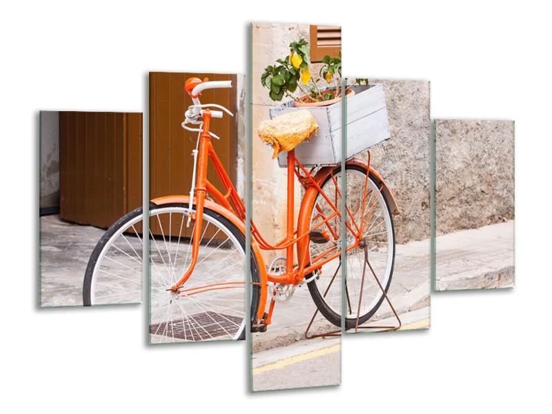 Canvas Schilderij Fiets | Oranje, Geel, Bruin | 100x70cm 5Luik