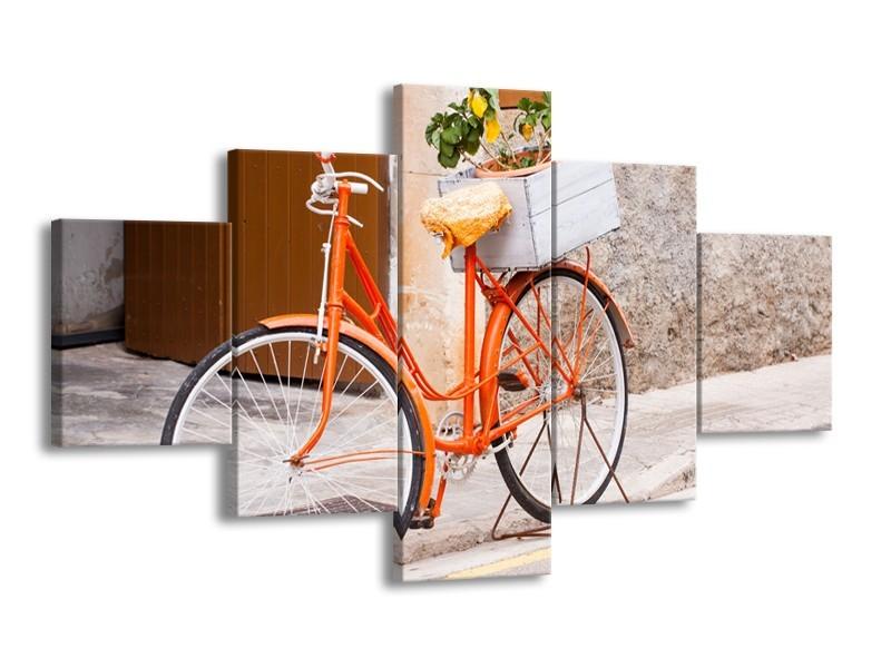 Canvas Schilderij Fiets | Oranje, Geel, Bruin | 125x70cm 5Luik