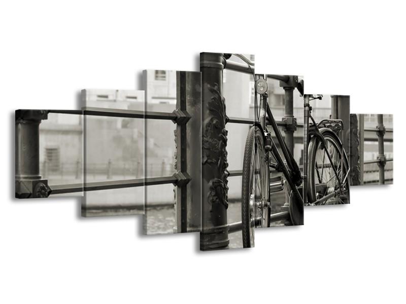 Glasschilderij Fiets | Grijs, Zwart | 210x100cm 7Luik