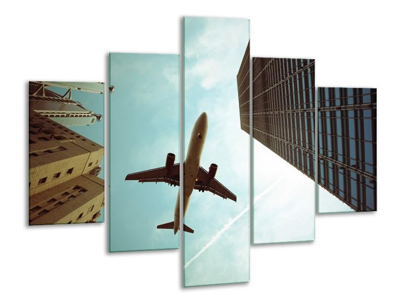 Canvas Schilderij Steden, Vliegtuig | Groen, Blauw, Grijs | 100x70cm 5Luik