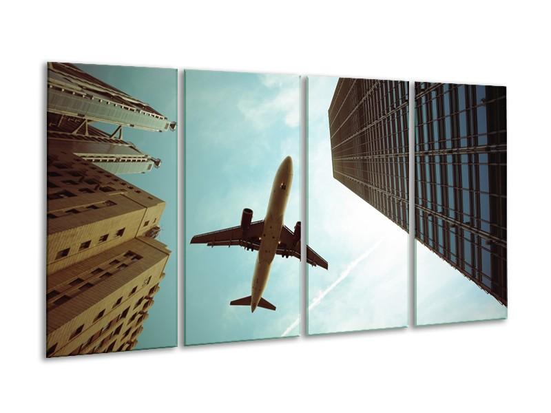 Canvas Schilderij Steden, Vliegtuig | Groen, Blauw, Grijs | 160x80cm 4Luik