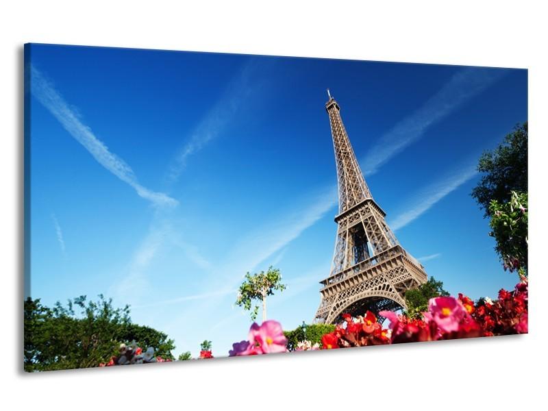 Canvas Schilderij Parijs, Eiffeltoren | Blauw, Rood, Groen | 190x100cm 1Luik