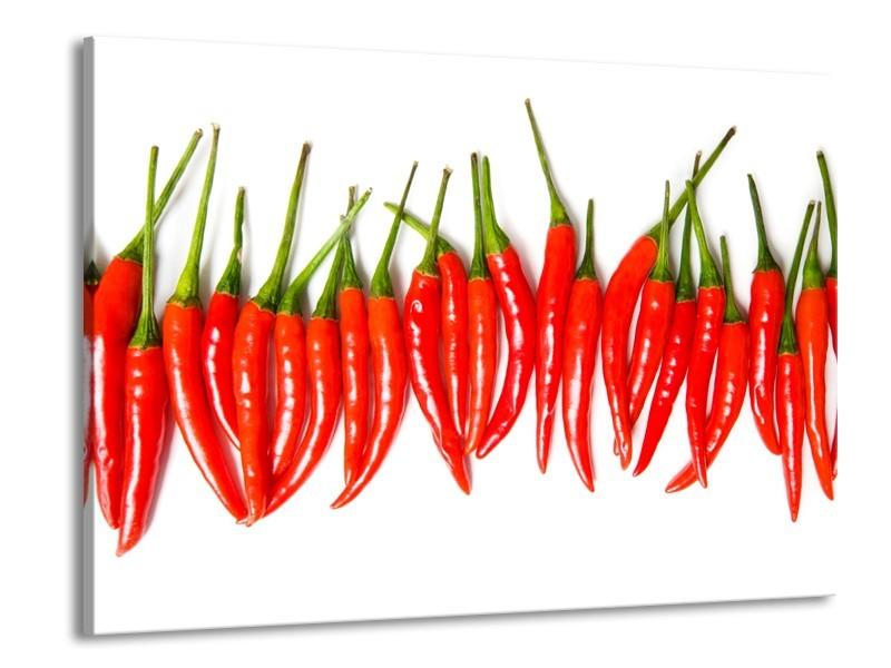Canvas Schilderij Paprika, Keuken | Wit, Rood, Groen | 100x70cm 1Luik