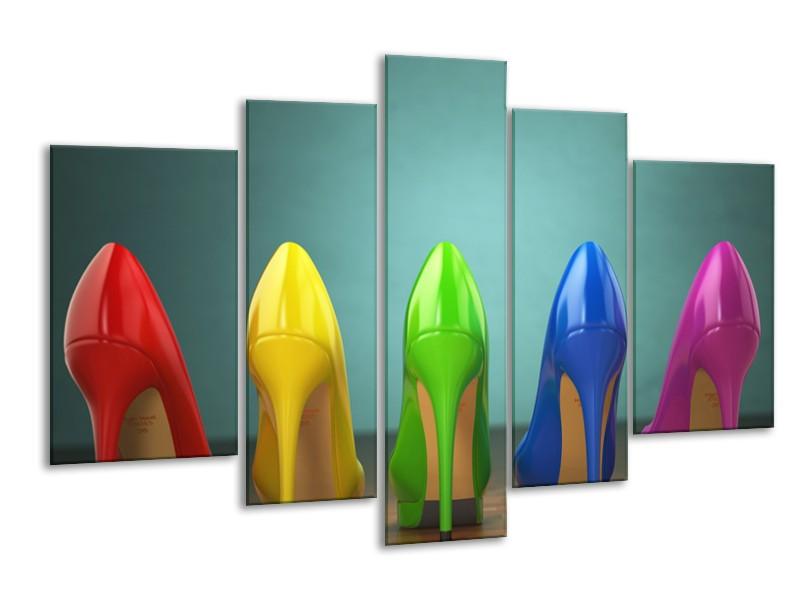 Canvas Schilderij Schoenen, Vrouw | Groen, Blauw, Rood | 170x100cm 5Luik