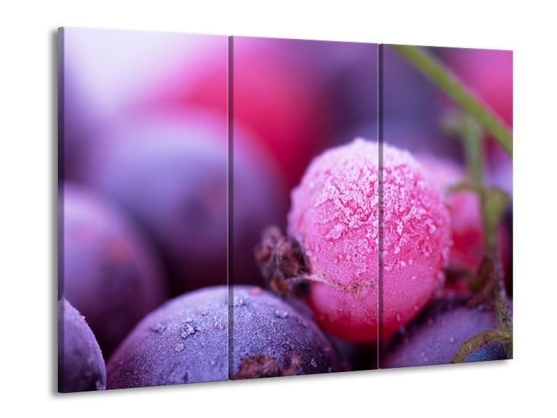 Canvas Schilderij Fruit, Keuken | Paars, Roze | 60x90cm 3Luik